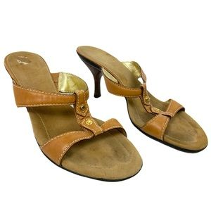 Cole Haan Brown Kitten Heels Leather Mules Sz 7.5